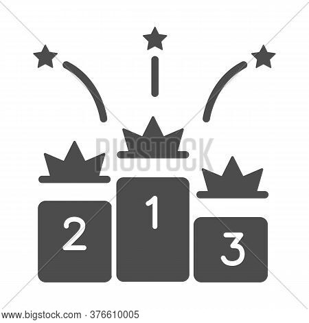 Winners Podium With Crowns Solid Icon, Sport Concept, Pedestal Of Honor Sign On White Background, Vi