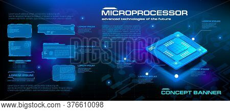 Powerful Microprocessor Of The Future. Hi-tech. New Generation Processor For Processing And Storing