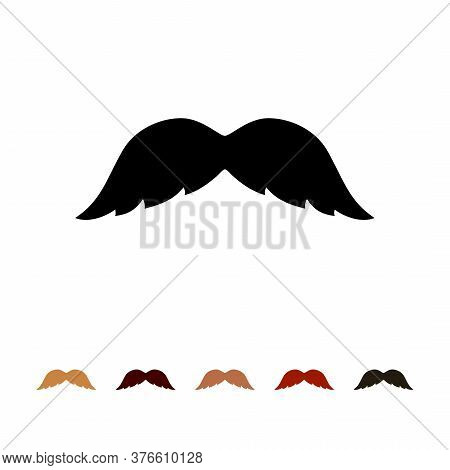 Mustaches Icon Silhouette Isolated On White Background. Men Different Colors Mustache Hair. Vector I
