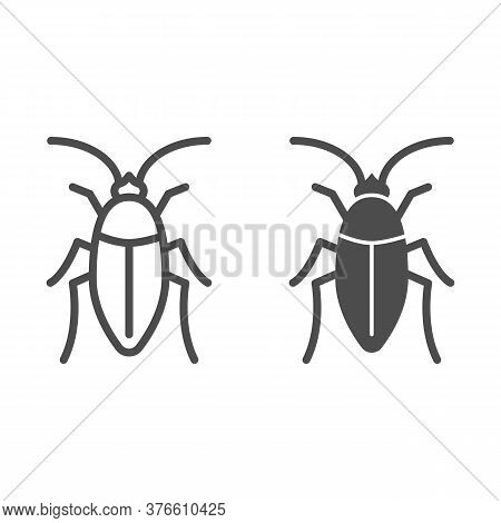 Cockroach Line And Solid Icon, Pests Concept, Beetle Sign On White Background, Roach Icon In Outline