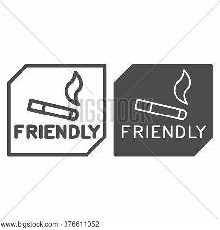 Smoking Is Allowed Line And Solid Icon, Smoking Concept, Smoking Area Sign On White Background, Plac