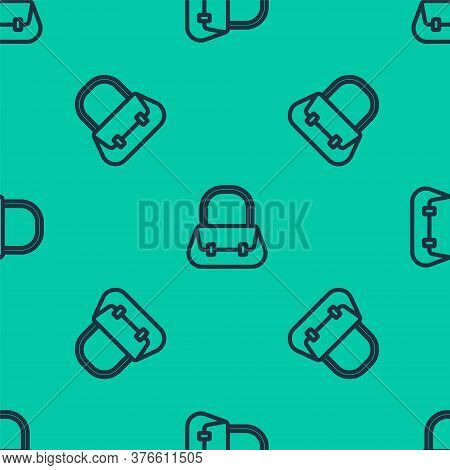 Blue Line Handbag Icon Isolated Seamless Pattern On Green Background. Female Handbag Sign. Glamour C