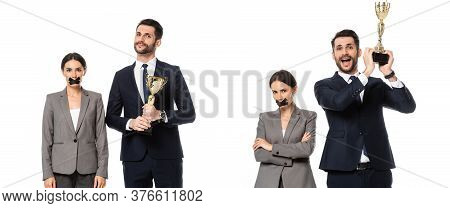 Collage Of Happy Businessman Holding Trophy Near Businesswoman With Duct Tape On Mouth Isolated On W