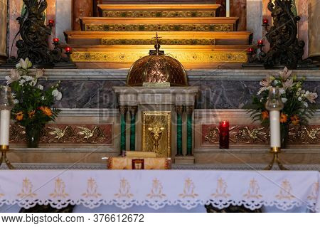 Haifa, Israel, July 10, 2020 : The Main Altar Of The Stella Maris Monastery Which Is Located On Moun