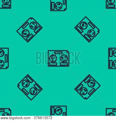Blue Line Celestial Map Of The Night Sky Icon Isolated Seamless Pattern On Green Background. Starry