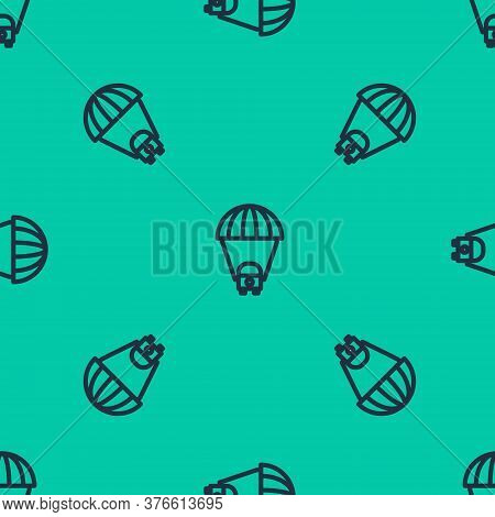 Blue Line Planet Saturn With Planetary Ring System Icon Isolated Seamless Pattern On Green Backgroun