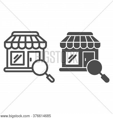 Shop Building And Magnifier Line And Solid Icon, Shopping Concept, Store With Magnifying Glass Sign