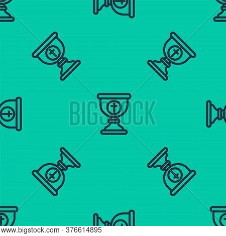 Blue Line Christian Chalice Icon Isolated Seamless Pattern On Green Background. Christianity Icon. H