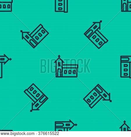 Blue Line Church Building Icon Isolated Seamless Pattern On Green Background. Christian Church. Reli