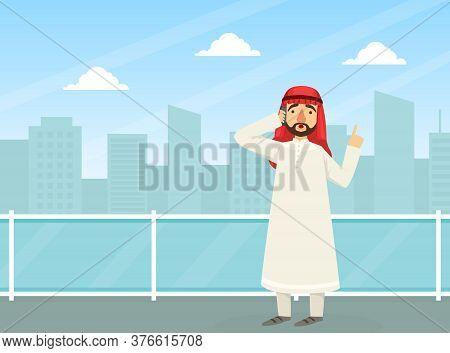 Arab Businessman Talking On Phone, Arabic Office Worker Character Wearing Traditional Muslim Clothin