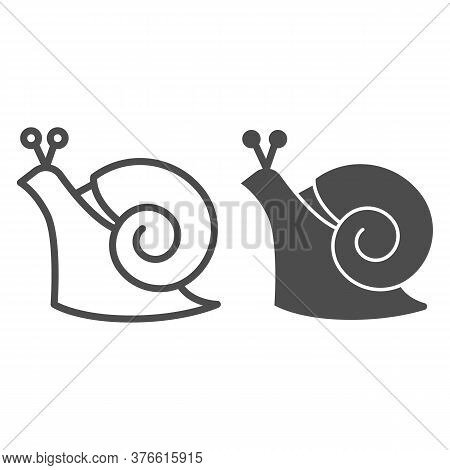 Snail Line And Solid Icon, Wildlife Concept, Mollusk With Spiral Shell Sign On White Background, Gar