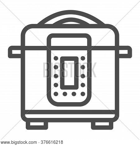 Slow Cooker Line Icon, Kitchen Appliances Concept, Electric Pan Sign On White Background, Multicooke