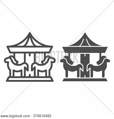Carousel Line And Solid Icon, Amusement Park Concept, Merry-go-round Sign On White Background, Carou