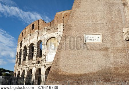 Architectural Details Of The Facade Of The Colosseum (coliseum) Or Flavian Amphitheatre, The Largest