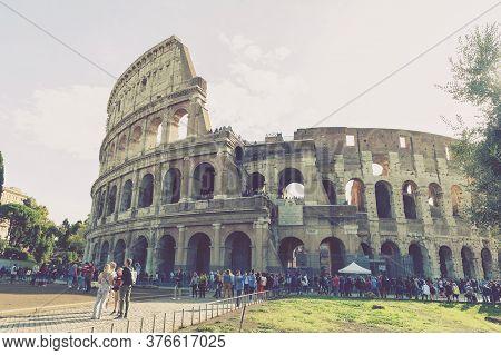 Rome, Italy - October 2019: Colosseum (coliseum) Or Flavian Amphitheatre, Largest Roman Amphitheater