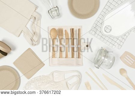 Set Of Eco Friendly Shopping Bag, Craft Paper Tableware, Water Bottle, Wooden Cutlery. Plastic Free