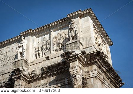 Close-up Details Of Relief Panels, Round Reliefs, And Frieze On The Attic Of The Arch Of Constantine