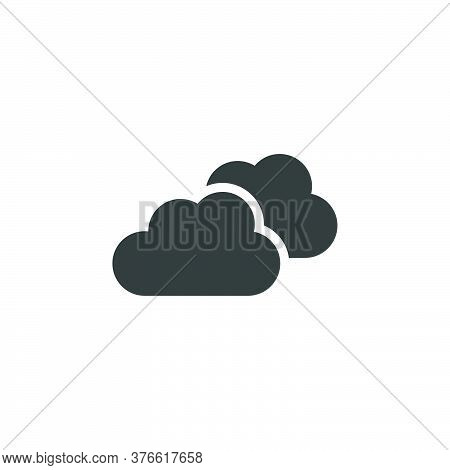 Overcast. Clouds On The Sky. Isolated Icon. Weather Glyph Vector Illustration
