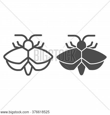 Moth Line And Solid Icon, Insects Concept, Mole Sign On White Background, Moth Silhouette Icon In Ou