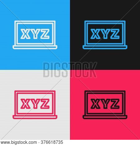 Pop Art Line Xyz Coordinate System On Chalkboard Icon Isolated On Color Background. Xyz Axis For Gra