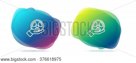 Set Line Radioactive In Hand Icon Isolated On White Background. Radioactive Toxic Symbol. Radiation