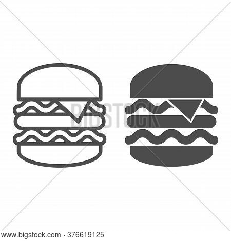 Big Burger Line And Solid Icon, Street Food Concept, King Burger Sign On White Background, Big And T
