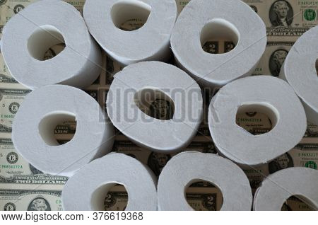 Toilet Paper Rolls Dollars On, Toilet Paper And Dollars, Concept Depreciation Of Money