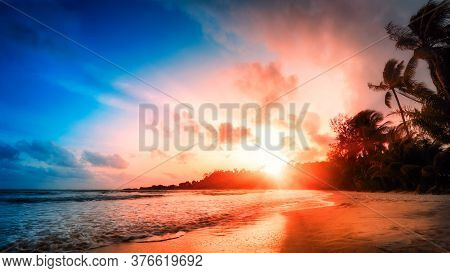 Scenic Tropical Beach At Dusk, With Vivid Colors In The Sky And The Silhouettes Of Palm Trees