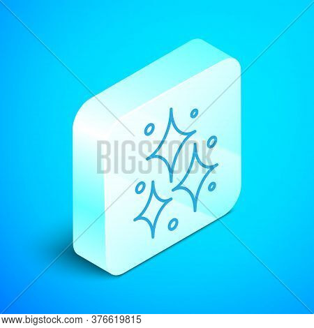 Isometric Line Firework Icon Isolated On Blue Background. Concept Of Fun Party. Explosive Pyrotechni