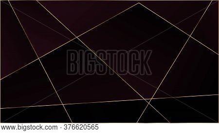 Red Luxury Polygon Texture. Gold Lines Triangular Premium Border. Silver Vip Rich Geometric Celebrat