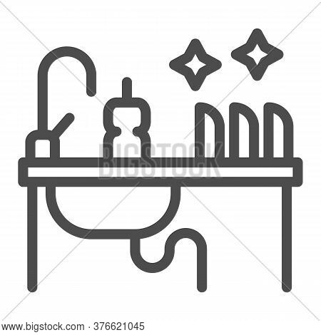Kitchen Sink With Kitchenware Line Icon, Household Concept, Washing Dishes Sign On White Background,
