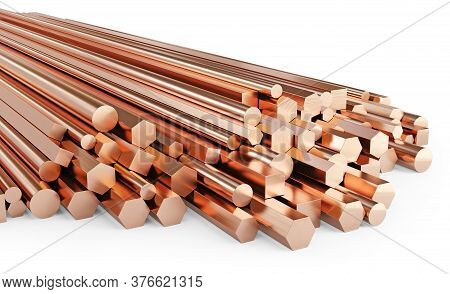 Copper Rolled Metal Products. Stack Of Round, Square, Hexagonal Copper Rods. Isolated On White Backg