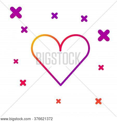 Color Line Heart Icon Isolated On White Background. Romantic Symbol Linked, Join, Passion And Weddin