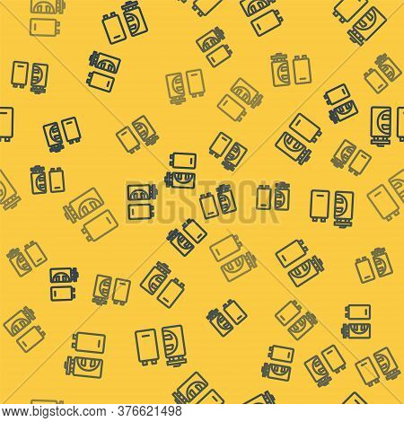 Blue Line Crematorium Icon Isolated Seamless Pattern On Yellow Background. Vector