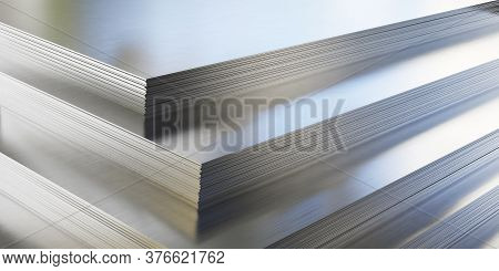 Steel Or Aluminum Sheets In Warehouse, Rolled Metal Product. 3d Illustration.
