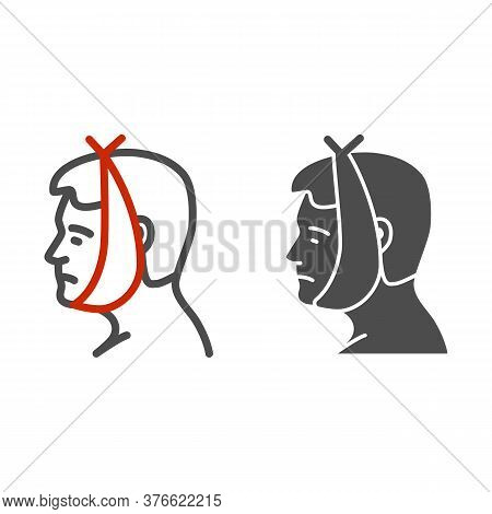 Tooth And Cheek Hurts Line And Solid Icon, Disease Concept, Toothache Sign On White Background, Huma