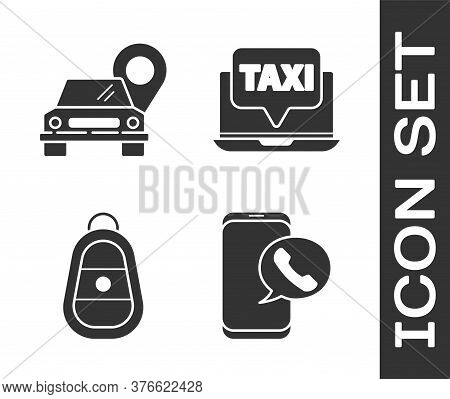 Set Taxi Call Telephone Service, Map Pointer With Taxi, Car Key With Remote And Laptop Call Taxi Ser