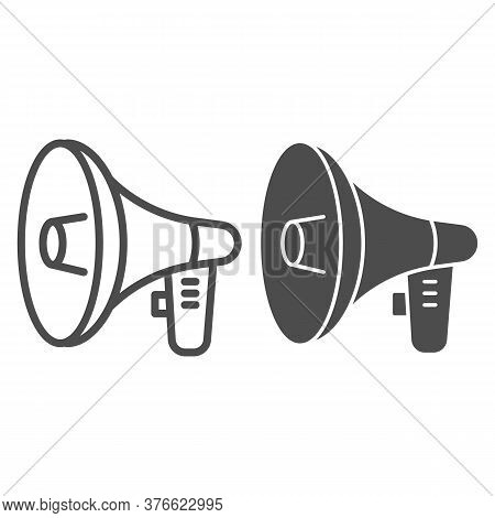 Loudspeaker Line And Solid Icon, Audio Concept, Megaphone Sign On White Background, Loud Speaker Ico