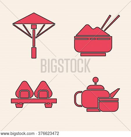 Set Japanese Tea Ceremony, Japanese Umbrella From The Sun, Rice In A Bowl With Chopstick And Sushi O