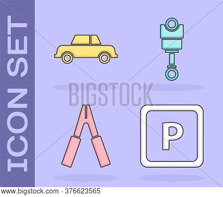 Set Parking, Car, Car Battery Jumper Power Cable And Engine Piston Icon. Vector