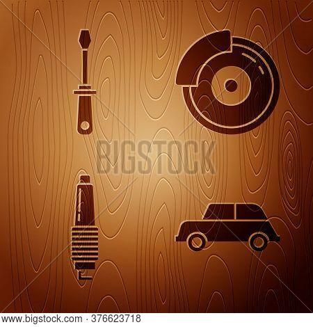 Set Car, Screwdriver, Car Spark Plug And Car Brake Disk With Caliper On Wooden Background. Vector