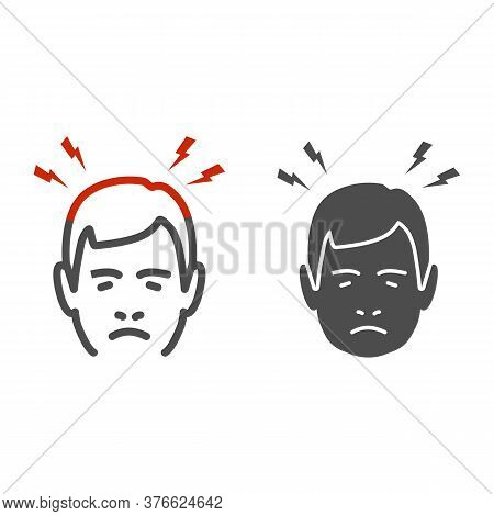 Headache Line And Solid Icon, Body Pain Concept, Lightnings Above Mans Head Sign On White Background