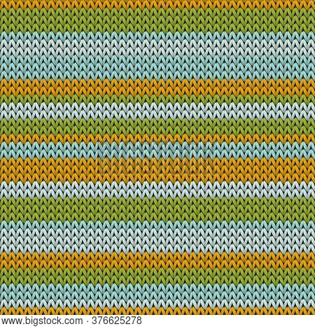 Yarn Horizontal Stripes Knitting Texture Geometric Seamless Pattern. Pullover Knit Effect Ornament.