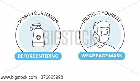 Instructional Vector Sign Sticker For Healthcare Educational. Wash Your Hands And Wear Face Mask Out