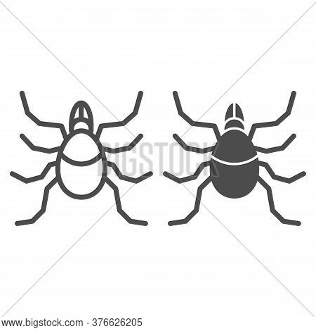 Mite Line And Solid Icon, Insects Concept, Acarus Sign On White Background, Tick Icon In Outline Sty