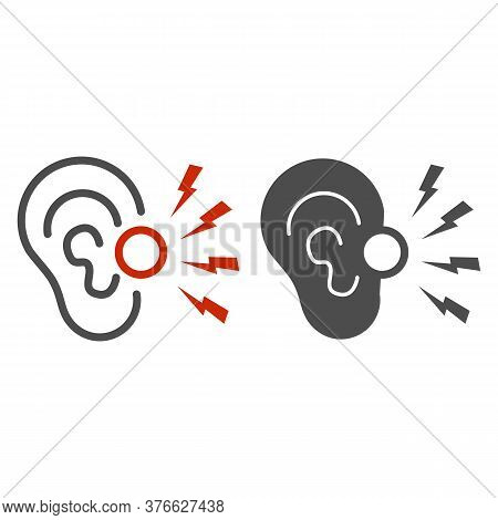 Ear Pain Line And Solid Icon, Illness And Injury Concept, Earache Sign On White Background, Ear Infl