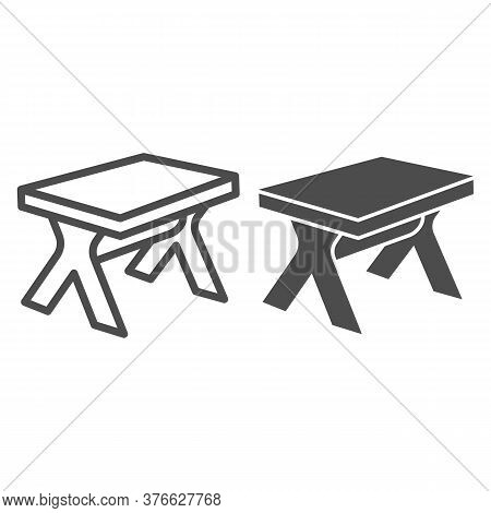 Wooden Table Line And Solid Icon, Furniture Concept, Street Picnic Table Sign On White Background, O