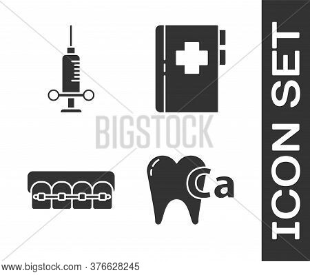 Set Calcium For Tooth, Dental Medical Syringe, Teeth With Braces And Clipboard With Dental Card Icon