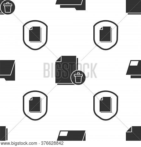 Set Document Folder, Delete File Document And Document Protection Concept On Seamless Pattern. Vecto