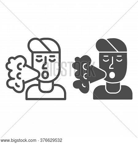 Smoker Line And Solid Icon, Smoking Concept, Smoker Silhouette Sign On White Background, Smoking Man